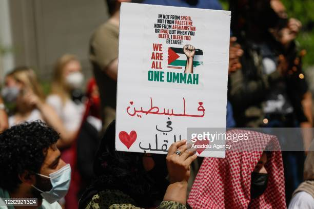 Protesters gather to stage a demonstration in support of Palestinians and to protest against Israeli attacks on Gaza Strip and East Jerusalem on the...