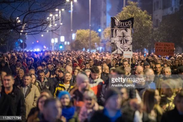 Protesters gather to stage a protest demanding the resignations of Montenegrian President Milo Djukanovic and Prime Minister Dusko Markovic in...
