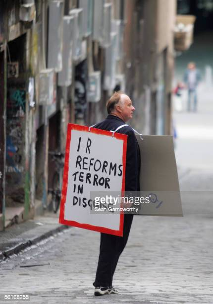 Protesters gather to voice their disapproval over proposed Industrial Relations law changes at Federation Square November 15 2005 in Melbourne...