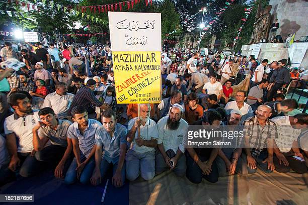 Protesters gathered in Istanbul's Sarachane Park to take world's attention to the massacres in Syria, Egypt