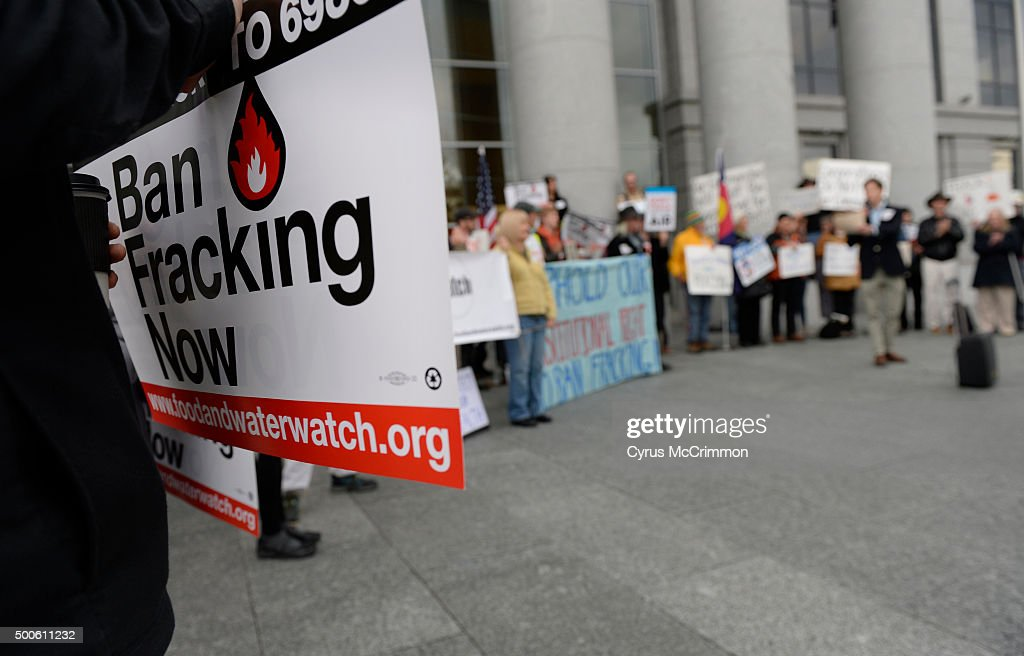 Protesters gathered out front of the Colorado Supreme Court Building to protest fracking before a hearing on local communities and fracking : News Photo