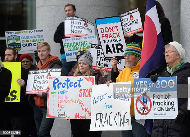 Protesters gathered out front of the Colorado Supreme Court Building to protest fracking before hearings on local communities and fracking on...