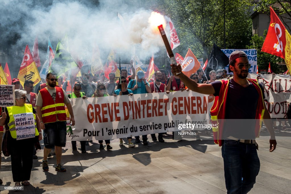 French Rail Workers And Students Demonstrate In Lyon