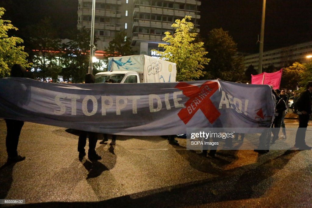 Protesters hold a banner that reads 'Stop the Berlin AfD'. : News Photo
