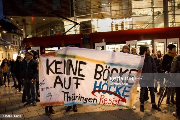 Protesters hold a banner with the slogan Keine Böcke auf Höcke during a demonstration against the rightwing Alternative for Germany political party...