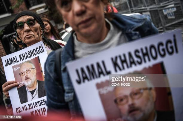 Protesters hold a portrait of missing journalist and Riyadh critic Jamal Khashoggi reading Jamal Khashoggi is missing since October 2 during a...