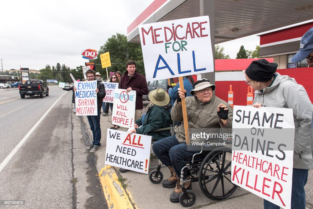 Protesters hold a small peaceful demonstration in support of health care on September 23, 2017 in Livingston, Montana. The state of Montana expanded Medicaid under the Affordable Care Act.