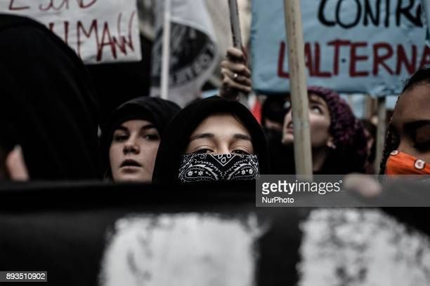 Protesters hold banner as hundreds of students protest against schoolwork alternation system at Buona Scuola law school in Naples Italy on December...