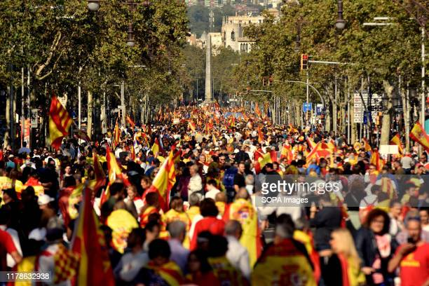 Protesters hold flags of Spain during the demonstration. Some 80,000 people according to the Local Police summoned by Catalan Civil Society...