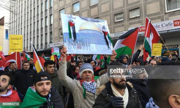Protesters hold placards during a demonstration against US President Donald Trumps announcement to recognize Jerusalem as the capital of Israel and...