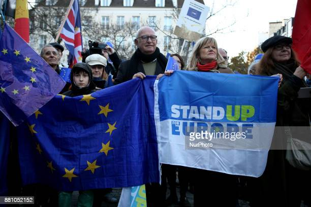 Protesters hold placards in support of the European Union in Paris, France on November 25, 2017.