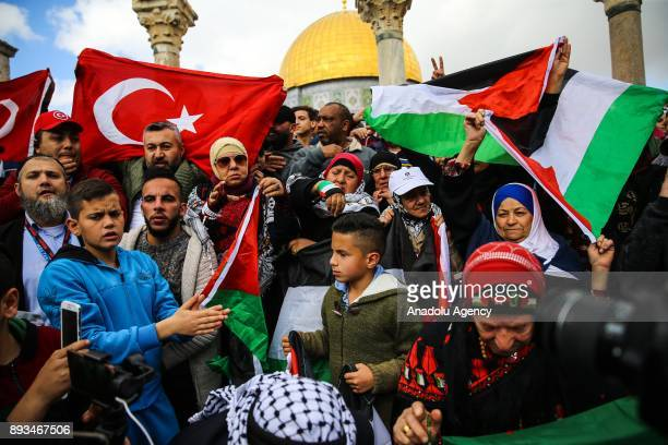 Protesters hold Turkish and Palestinians flags during a demonstration against US President Donald Trumps announcement to recognize Jerusalem as the...