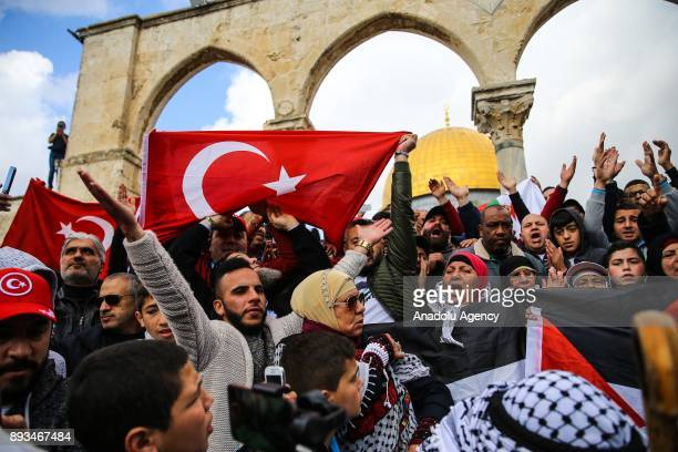 Protesters hold Turkish flags during a demonstration against US President Donald Trumps announcement to recognize Jerusalem as the capital of Israel...