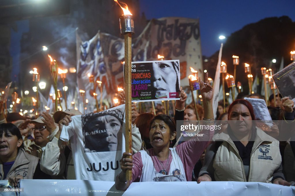 Protest to Demand Freedom For Milagro Sala : News Photo