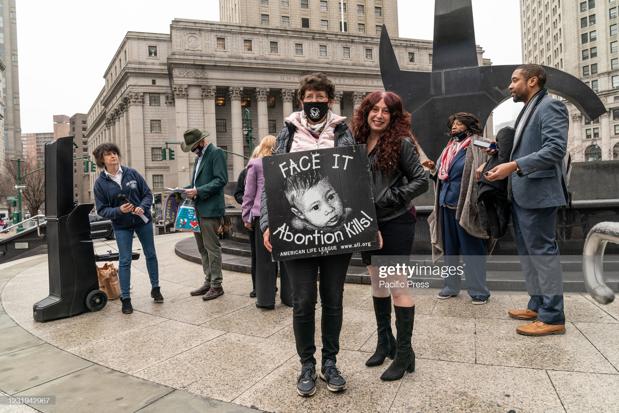 Protesters holding a placard during anti-abortion activists... : News Photo