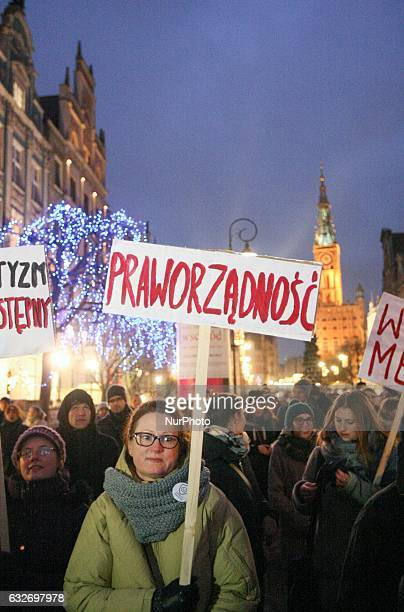 Protesters holding banners with antigovernmental slogan are seen on 25 January 2017 in Gdansk Poland Over hundred of students gathered to protest the...