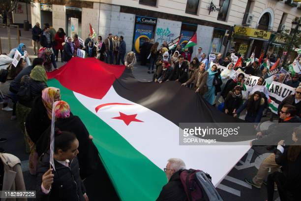 Protesters holding the great flag of Western Sahara during the demonstration. Thousands of Saharawis arrive from all over Spain to demand the end of...