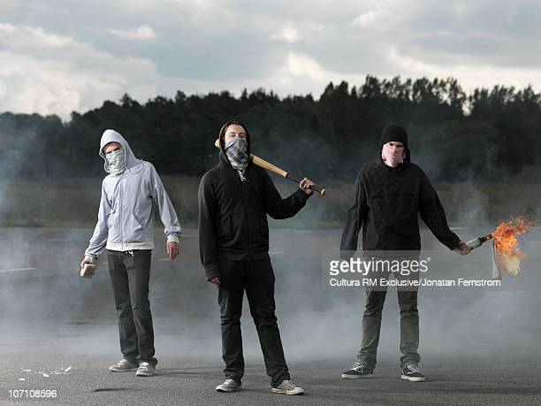 Protesters in a riot