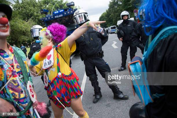 Protesters in clown disguise during G 20 summit in Hamburg on July 8 2017