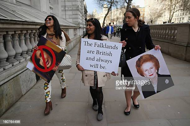 Protesters in favour of UK sovereignty of the Falkland Islands gather on Whitehall on February 5 2013 in London England Argentina's Foreign Minister...