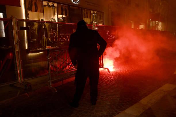 FRA: Demonstration Against The 45th Cesar Film Awards Ceremony In Paris