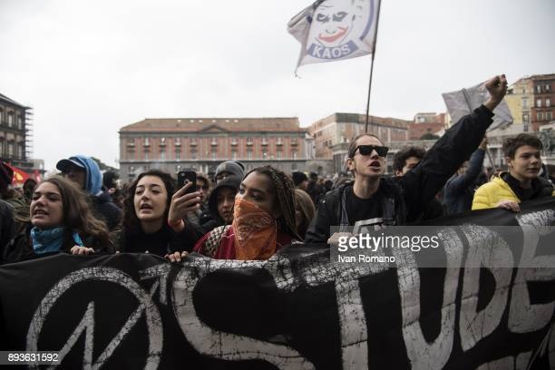 Protesters in Piazza Plebiscito shout slogans against the government in front of the building of the prefecture of Naples during demonstration in the...