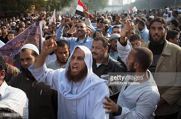 Protesters in the street protesting against the Egyptian President President Morsi outside the Presidential Palace on December 1, 2012 in Cairo,Eqypt.
