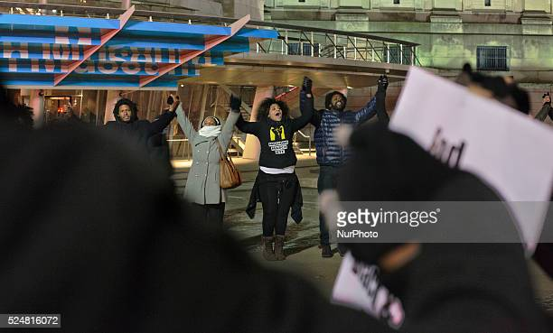Protesters joined hands and ended the protest with Assata Shakur's chant quotwe have a duty to fight for our freedom in Brooklyn NY on January 18...