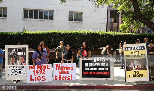 Protesters line the street at the Protest and March Against Columbus Sunday October 12 2014 in Los Angeles