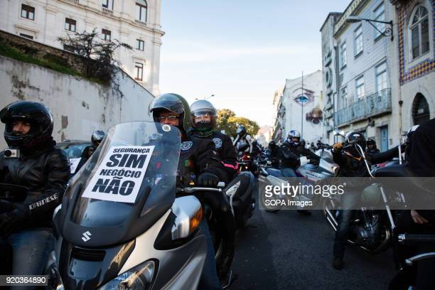 Protesters line up and ride with slow speed during the demonstration Thousands of motorcyclists demonstrated in several cities in Portugal to protest...