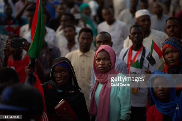 Protesters listen to speeches by each other about their hopes and plans for the future government on May 03 2019 in Khartoum Sudan Thousands of...