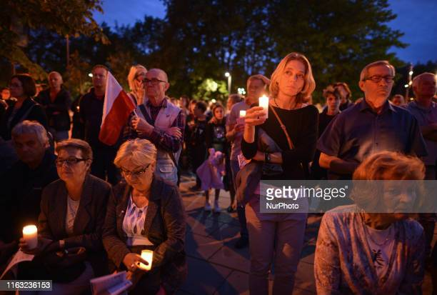 Protesters mainly members of the Committee for the Defence of Democracy and members of the Polish opposition parties seen outside Krakow's District...