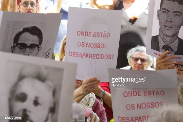 Protesters make an act against the dictatorship in the premises of the former Internal Defense Operations Center in the south of Sao Paulo, on 30...