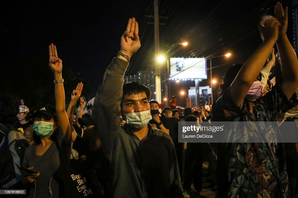 Protest Outside Siam Commercial Bank Headquarters : News Photo