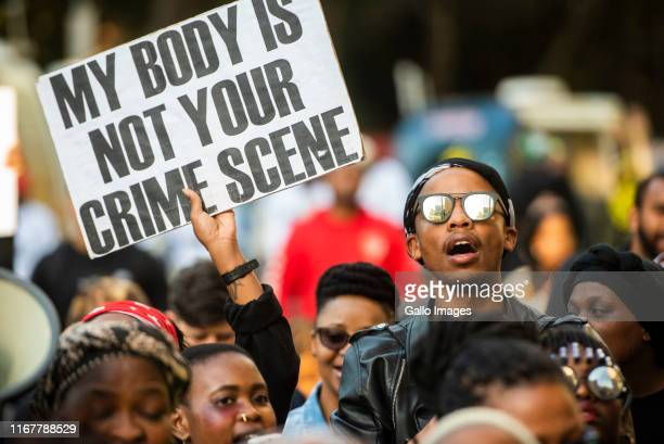 Protesters march against gender-based violence, organised by several NGO?s and organisations at the JSE in Sandton on September 13, 2019 in Sandton,...