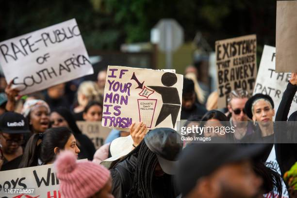 Protesters march against genderbased violence organised by several NGOs and organisations at the JSE in Sandton on September 13 2019 in Sandton South...