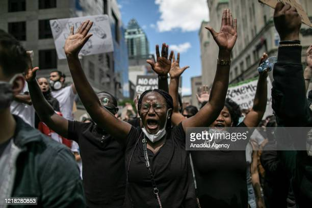 Protesters march against police brutality and racism in Montreal, Canada on June 7, 2020. The death of an African-American man, George Floyd, while...