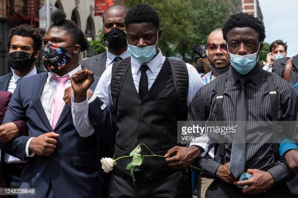 Protesters march against the death of George Floyd and hold the funeral on June 4 2020 in Harlem New York The white police officer Derek Chauvin has...