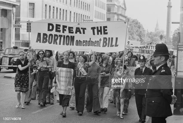 Protesters march against the proposed amendment to the Abortion Bill in London, England, 21st June 1975.