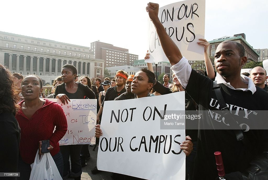 Protesters march at Columbia University October 10, 2007 in New York City. Black professor Madonna Constantine discovered a hangman's noose on her office door at the prestigious college October 92, sparking anger at the campus.