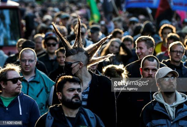 Protesters march due to Labour Day from Wismar Square towards Warschauer Bridge through Rigaer and Frankfurter Allee Avenues in Berlin, Germany on...