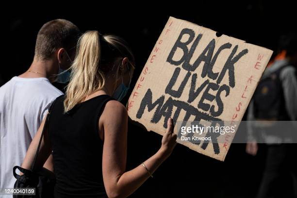 Protesters march during a 'Black Lives Matter' demonstration on June 01 2020 in London England The death of an AfricanAmerican man George Floyd at...