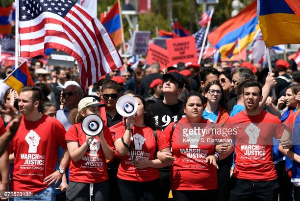 Protesters march during a rally commemorating the 102nd anniversary of the Armenian genocide outside the Turkish consulate on April 24 2017 in Los...
