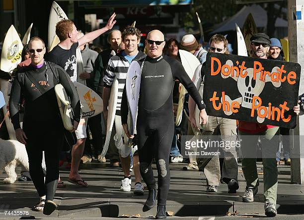 Protesters march during the Surfrider Foundation Australia march from Federation Square to Parliament House June 8 2007 in Melbourne Australia The...