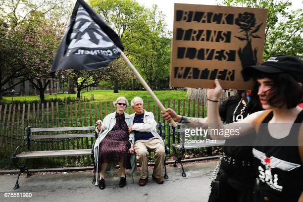 Protesters march from New York's Union Square on May Day on May 1 2017 in New York New York Across the country and world people are protesting...