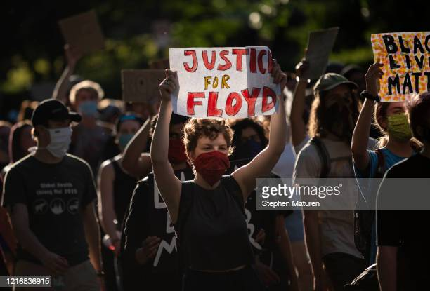Protesters march from the Governor's Mansion to the Minnesota State Capitol building on June 1, 2020 in St. Paul, Minnesota. Protests and gatherings...