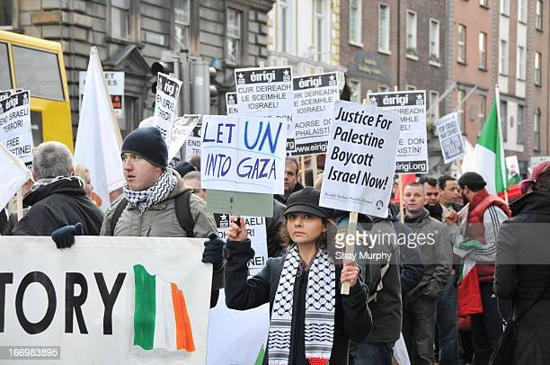 Protesters march in Dublin calling for the end of the blockade of Gaza.