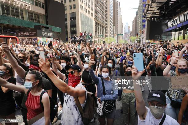 Protesters march in Manhattan over the death on May 25 of black man George Floyd while in the custody of Minneapolis police on June 07 2020 in New...