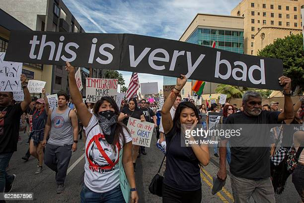 Protesters march in reaction to the upset election of Republican Donald Trump over Democrat Hillary Clinton in the race for President of the United...