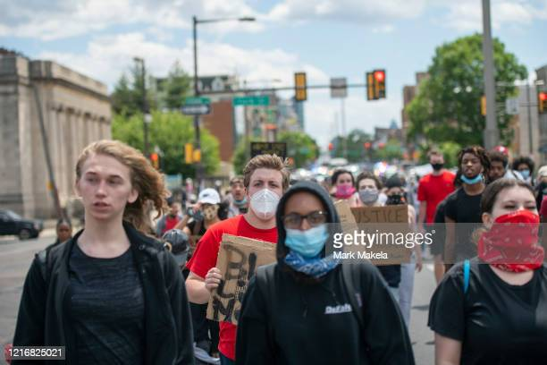 Protesters march in the aftermath of widespread unrest following the death of George Floyd on June 1 2020 in Philadelphia Pennsylvania Demonstrations...